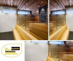 Anna saunalle ilmava ilme. käyttämällä lasiseinää tilanjakoon. #saunanlasiseinä #lasiovisaunaan #pesutilat #tasalankaihdin