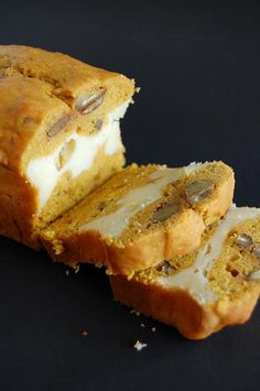 Pumpkin Spice Bread with Maple Cheesecake Layer - Cook'n is Fun - Food Recipes, Dessert, & Dinner Ideas Think Food, I Love Food, Good Food, Yummy Food, Fun Food, Just Desserts, Delicious Desserts, Dessert Recipes, Recipes Dinner