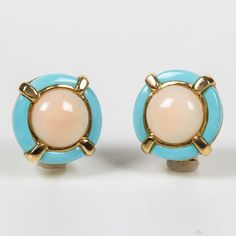 Angel Skin Coral Turquoise Gold Earrings | From a unique collection of vintage clip-on earrings at https://www.1stdibs.com/jewelry/earrings/clip-on-earrings/