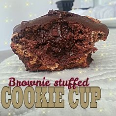 Ripped Recipes - Brownie-Stuffed Cookie Cup - A Chocolate Chip Cookie Dough Quest bar turns into a cookie when baked. This is a cookie topped with a brownie, and every bit of delicious!