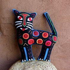 VENTE ! Fabuleux félin, chat Mola-inspiré de forme coussin - bleu/noir