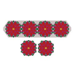 Poinsettia Bouquet Beaded Bracelet and Earrings | Bead-Patterns.com