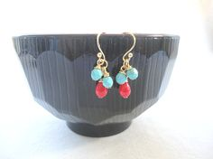 Coral and turquoise earrings beaded cluster earrings by KeyYoung, $19.00