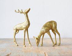 vintage brass deer figurines pair of spotted by RustBeltThreads