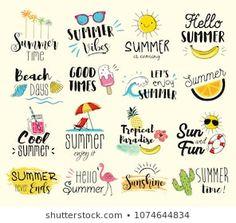 Summer labels, logos, hand drawn tags and elements set for summer holiday, trave… - 6 Logo Mano, Summer Logo, Summer Clipart, Apple Art, Hawaiian Art, Summer Backgrounds, Leaf Logo, Enjoy Summer, Summer Sun