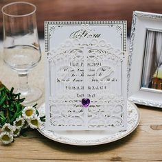 Romantic wedding cards invitations with buckle