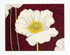 White Poppy on Red. White Poppy on Red by Adam Guan is a lithographic print made in 2006. This piece comes matted and framed.