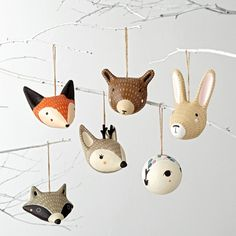 If you& wild for forest animals, then you& love our woodland Christmas ornaments. These hand-painted paper mache animals were exclusively designed for us by Gingiber. Fox Ornaments, Deer Ornament, Christmas Ornament Sets, Paper Mache Crafts, Clay Crafts, Paper Mache Animals, Woodland Christmas, Painted Paper, Hand Painted