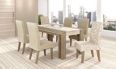 Conjunto para Sala de Jantar com Mesa e 6 Cadeiras Nogueira/Champagne/Suede Bege/Bege Outono - Cimol | Lojas KD
