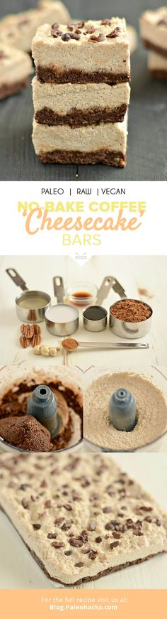 alling all coffee lovers: these sweet treats are packed with your favorite beverage! I'm a big fan of adding coffee to baked goods. It gives them a deep, intense flavor and for this recipe, any coffee works well — so feel free to use your favorite beans. For the full recipe, visit us here: http://paleo.co/nobakecoffeebars