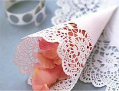 Ceremony:  Rose petals in lace cone.  To toss at bride and groom when exiting.