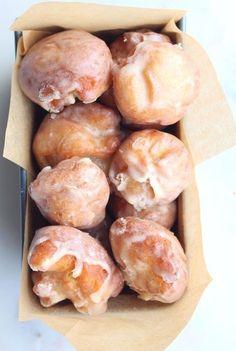 sour cream cake doughnut holes with maple & vanilla brown butter glaze.