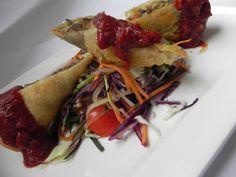 Spring rolls in slightly hot sauce (phyllo dough, peppers, carrot, leek, zucchini, mushrooms, tomato juice, Tabasco sauce)