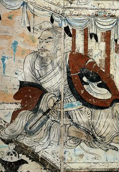 Vimalakirti in debate with the Bodhisattva Manjusri, detail from a wall painting in Cave # 103, Dunhuang, Gansu province, China, dated to the Tang Dynasty, 8th century