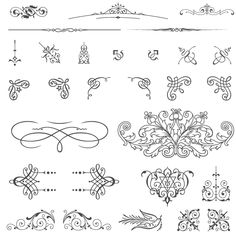 XOO Plate :: 85 Free Vintage Vector ornaments - 85 vintage vector ornaments: swashes, decorative corners, typographic ornaments, fleurons, vignettes, text dividers, brass rules, floral decorations…  Vectorized by hand from genuine type foundry catalogs from the Victorian era.