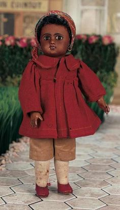 """10"""" Fig. A, open mouth, all original)  EXQUISITE PETITE FRENCH BROWN-COMPLEXIONED BISQUE BEBE DOLL BY JULES STEINER A/O"""