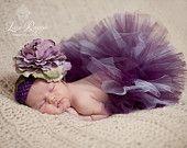 OMG! How sweet is this?  Newborn Baby Photo Prop Plum Tutu Set. $25.00, via Etsy.