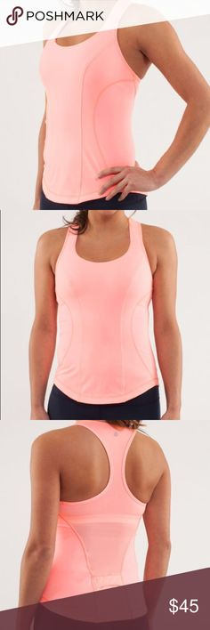 Lululemon cardio kick tank Beautiful Lululemon cardio kick tank. Shirt is in EUC. There is absolutely no stains , rips, or damage whatsoever. The color is called bleached coral. This shirt was worn twice. Serious inquires only. No trades or lowballs. lululemon athletica Tops Tank Tops