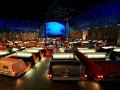 Best immersive theming -- Sci-Fi Dine-In Theater Restaurant, Walt Disney World At Disneys Hollywood Studios, guests are seated at tables that look and feel like 1950s convertible cars (two guests get the front seat, and two guests get the back in most of these cars). After the car hop takes your order, watch the clips on the screen featuring old news reels, silly horror flicks, and classic cartoons.