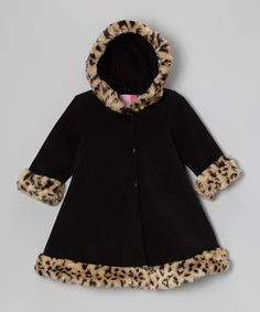 Take a look at this Black Faux-Fur Hooded Swing Coat - Infant, Toddler & Girls by Good Lad on #zulily today!