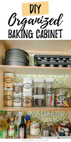 Organizing Baking Supplies A Super Cute Baking Cabinet! is part of Junk Cabinet Organization - Organizing baking supplies is easy with cork tiles, command hooks, vinyl labels, and a beautiful craft paper to line the cabinet Baking Organization, Kitchen Cabinet Organization, Home Organization, Cabinet Ideas, Organisation Ideas, Cabinet Design, Organizing Ideas, Kitchen Storage, Storage Ideas