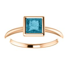 14kt Rose Gold 5mm Center Square Topaz (Color:London Blue, Quality: AA) Engagement Ring...(ST71871:704:P).! Price: $329.99 #diamonds #ring #gold #bezelring #fashion #jewelry #decemberbirthstone