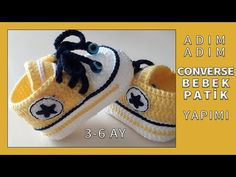 How To Crochet Converse Baby Booties Baby Booties Knitting Pattern, Baby Shoes Pattern, Booties Crochet, Crochet Slippers, Baby Knitting Patterns, Baby Patterns, Knit Crochet, Crochet Baby Clothes, Crochet Baby Shoes