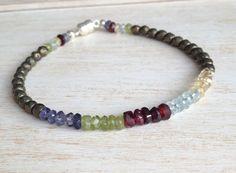 Fun little colorful bracelet… Pyrite and Multi Gemstone Beaded Bracelet Tennis by LoveandLulu, $28.00
