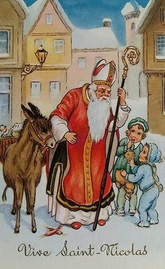 épinglé par ❃❀CM❁✿Saint Nicolas Antique Christmas, Vintage Postcards, Christmas Cards, Saints, Antiques, Painting, Donkeys, Illustrations, Vintage Maps