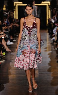 Stella McCartney Summer '15 cloud print Jordan Dress with clouds applique embroidery and Margot Sandals.