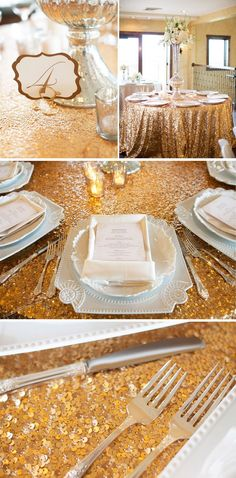 gold table linens | Love the gold sequins table linens. Great Gatsby Theme. | One Day