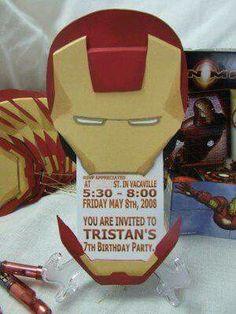 My Son& Birthday Party Invitations Iron Man, Tony Stark Style Avengers Birthday, Superhero Birthday Party, 4th Birthday Parties, 30th Party, Birthday Ideas, Men Party, Iron Man Birthday, My Son Birthday, Iron Man Party