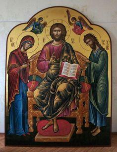 ICONO-CRISTO, MARIA Y JUAN Holy Quotes, Religious Images, Son Of God, Orthodox Icons, Jesus Christ, Greece, Saints, Religion, Spirituality