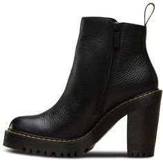 MAGDALENA AUNT SALLY ($190) ❤ liked on Polyvore featuring shoes, boots, ankle booties, chunky heel boots, leather high heel boots, leather booties, leather boots and chelsea bootie