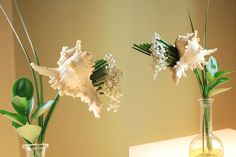 DECOR | Centerpiece - Isn't this an incredible architectural arrangement using conch shells! This impressive gravity defying piece is by koldoesparza.com, a floral artist from Spain.