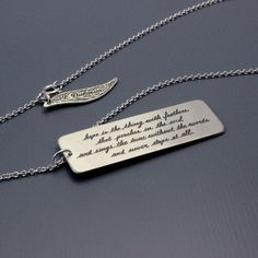 "Emily Dickinson Necklace by Lisa Hopkins Design :: ""Hope is the thing with feathers that perches in the soul and sings the tune without the words and never stops at all."""