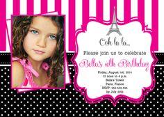 Paris Birthday Party Photo Invitations