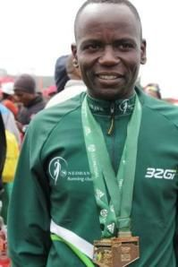 2010 IAU 50km World Champ (2nd in 2012) Collen Makaza, (Zimbabwe) two oceans ultra marathon 2013, coming in a strong 4th position to take GOLD once again