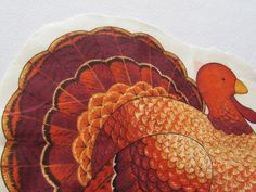 "Vintage Turkey Fabric Panel.  This is a cotton fabric panel for a Thanksgiving turkey.  The turkey is approx. 7 1/4"" x 6"" tall.  He is done in oranges and brown"