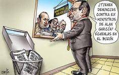 El trazo de Carlín sobre el papel de la Fiscalía de Perú ante las denuncias contra el ex presidente Alan García.