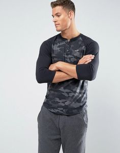 Hollister Sleeve Henley Baseball Slim Fit in Black Camo - Black Latest Fashion Clothes, Latest Fashion Trends, Men's Fashion, Women's Henley, Order T Shirts, Personalized T Shirts, Casual Elegance, Custom T, Cotton Tee