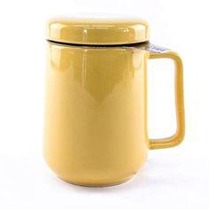 Tealyra - Peak Keramik-Teekanne - Yellow Tea Cup Infuser - - Large Tea High-Fired Ceramic Mug with Lid and Stainless Steel Infuser - Tea-for-One Perfect Set for Office and Home Uses Perfect Cup Of Tea, Tea For One, Ceramic Mug With Lid, Yellow Tea Cups, Best Tea, Tea Infuser, Loose Leaf Tea, Tea Mugs, Stainless Steel