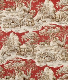 red  tan toile fabric