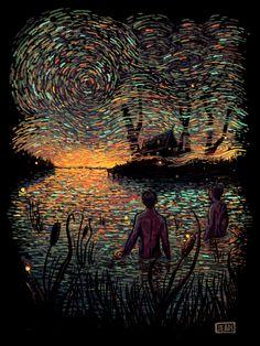 California-based artist James R. Eads creates striking digital illustrations that are heavily influenced by Vincent van Gogh's style. More illustrations Visit his website Kunst Inspo, Art Inspo, Art And Illustration, Psy Art, Grid Design, Psychedelic Art, Beautiful Artwork, Oeuvre D'art, Traditional Art