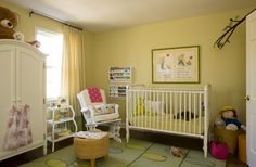 Great Baby Furniture Sets in Secure Designs: Wonderful Green Wall In The Nursery With White Baby Furniture Sets And Green Carpet Under It Baby Furniture Sets, Diy Kids Furniture, Nursery Furniture, Nursery Rocker, Nursery Crib, Girl Nursery, Nursery Ideas, Babies Nursery, Nursery Inspiration