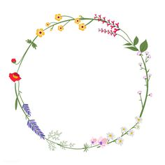 Flower Circle, Flower Frame, Flower Boarders, Logo Floral, Circle Drawing, Illustration Blume, Flower Wreath Illustration, Wreath Drawing, Bullet Journal Art