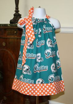 miami dolphins Pillowcase Dress for  toddler by BlakeandBailey, $15.00