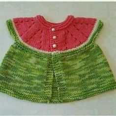 Ravelry: Watermelon baby cardigan pattern by Linda Cornes Parker Baby Cardigan, Baby Pullover, Baby Vest, Cardigan Pattern, Baby Knitting Patterns, Lace Knitting, Easy Crochet, Crochet Baby, Crochet Top