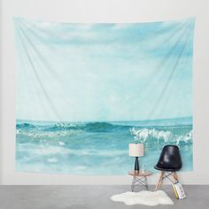Ocean Wall Tapestry. Home Decor. Large Size Wall Art. Photo tapestry, dreamy tapestry mint decor abstract nursery decor mint sea blue