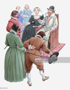 Stock Illustration : Illustration of Pocahontas and her husband John Rolfe meeting King James and Queen Anne Native American Warrior, King James, Free Illustrations, Queen Anne, Pocahontas, Medieval, Husband, Stock Photos, Adventure